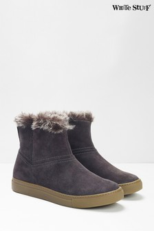 White Stuff Grey Ivy Faux Fur Ankle Boots