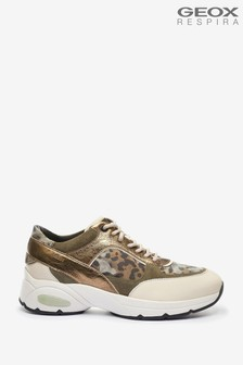 Geox Woman's Alhour Cream/Olive Shoes