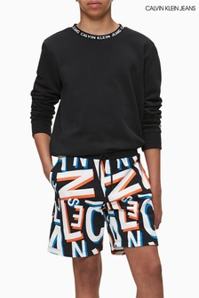 Calvin Klein Black Logo Intarsia Sweatshirt