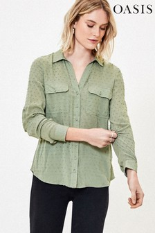 Oasis Green Dobby Detail Shirt