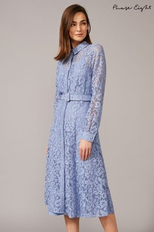 Phase Eight Blue Autumn Lace Belted Dress