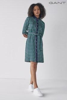 GANT Lush Green Geo A-Line Shirt Dress
