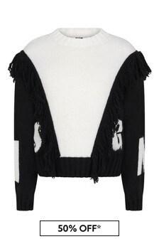MSGM Girls White Knitted Jumper