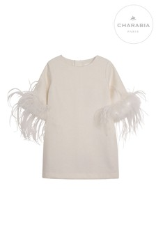 Charabia Ivory Shift Dress With Feathers