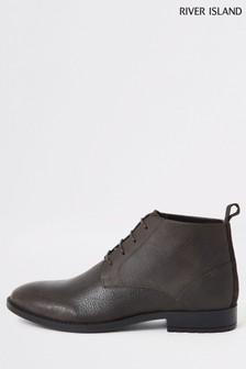 River Island Brown Leather Baines Boots