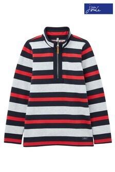 Joules Grey Dale Stripe Half Zip Sweatshirt