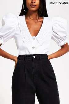 River Island White Collar Poplin Top