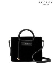Radley Black Arlington Hoop Sparkle Velvet Small Zip Top Bag