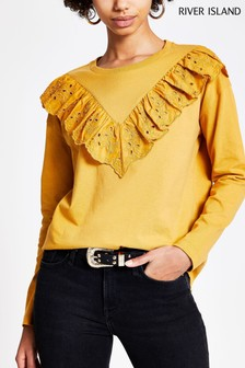 River Island Yellow Broderie V Trim T-Shirt