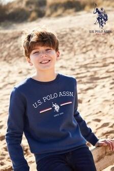 U.S. Polo Assn. Blue Stripe Rider Ft Crew Sweater