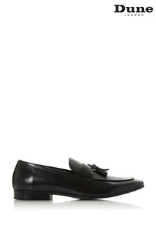 Dune London Sea Black Leather Saffiano Tassel Loafers