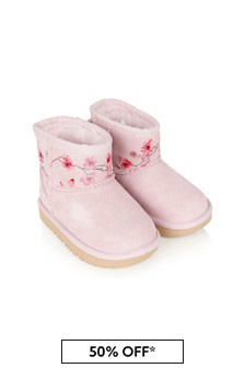 UGG Girls Pink Leather Classic Mini Blossom Boots