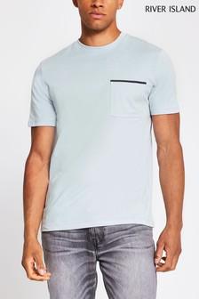 River Island Grey Light Clean Pocket T-Shirt