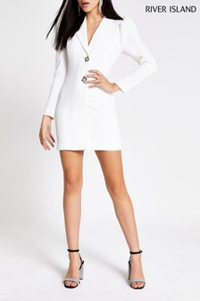 River Island White Arya Tux Dress