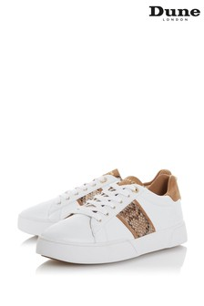 Dune London Elsie White Leather Lace-Up Bumper Sole Trainers