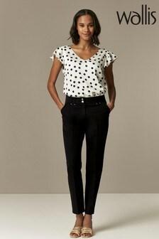 Wallis Black Black Stud Detail Tapered Trousers