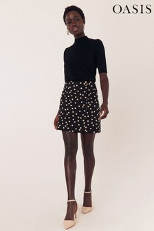 Oasis Natural Spot Scallop Mini Skirt