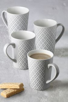 Set of 4 Geo Latte Mugs