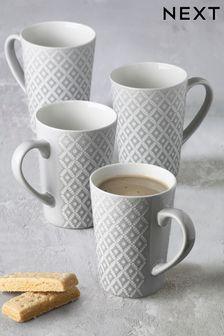 Geo Set of 4 Latte Mugs Embossed