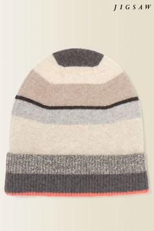 Jigsaw Grey Stripe Block Cashmere Hat