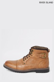 River Island Brown Buckle Brighton Move On Boots