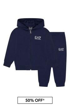 EA7 Emporio Armani Boys Navy Cotton Tracksuit