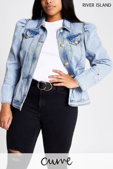 River Island Denim Medium Rachel Puff Shoulder Jacket