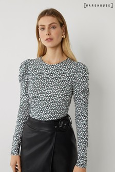 Warehouse Black Ditsy Floral Puff Sleeve Top