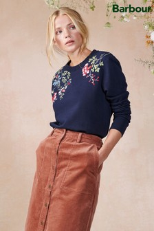 Barbour®/Laura Ashley Navy Floral Embroidered Larch Sweatshirt