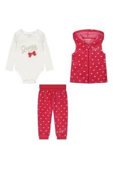 Baby Girls Red Velour Gilet & Bottoms 3 Piece Set