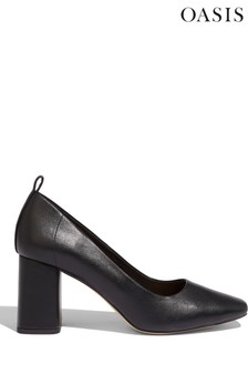Oasis Black Square Toe Court Shoes