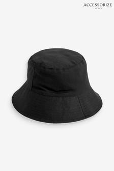 Accessorize Black Utility Cotton Twill Bucket Hat
