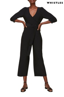 Whistles Black Wrap Jersey Jumpsuit