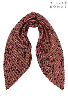 Oliver Bonas Cute Cheetah Pleated Brown Square Scarf