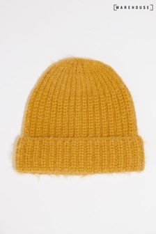 Warehouse Yellow Eyelash Yarn Beanie Hat