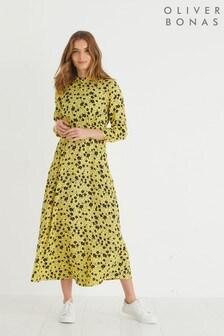 Oliver Bonas Yellow/Black Martha Print Midi Dress
