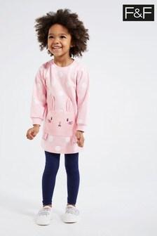 F&F Pink Bunny Sweat Dress Set