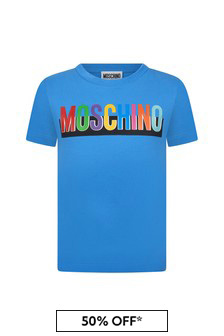 Moschino Boys Blue Cotton T-Shirt