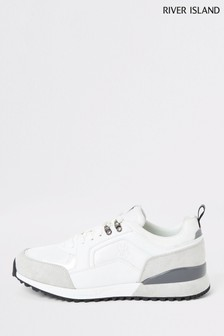 River Island White Metal Panel Runner Trainers