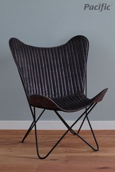 Pacific Steel Grey Leather And Iron Butterfly Chair