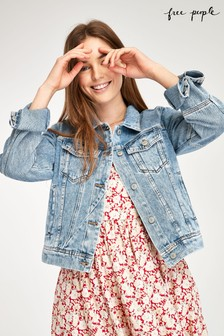 Free People Light Wash Denim Jacket