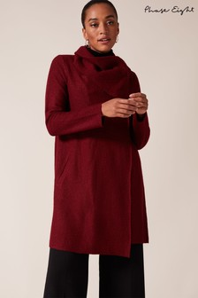 Phase Eight Brown Bellona Level Hem Knit Coat