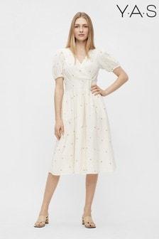 Y.A.S Beige Chuma Dot Midi Dress