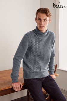 Boden Charcoal Lambswool Roll Neck Jumper