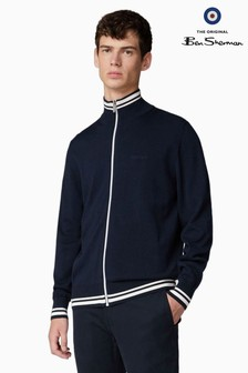 Ben Sherman Navy Knitted Track Top