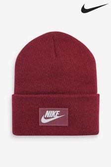 Nike Adults Burgundy Swoosh Beanie Hat