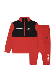 Boys Red Fleece Tricot Tracksuit