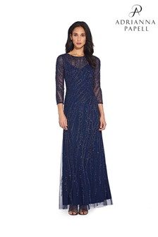 Adrianna Papell Blue Beaded Gown With 3/4 Sleeves