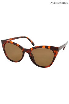 Accessorize Brown Ava Classic Cat-Eye Sunglasses