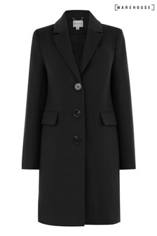 Warehouse Black Single Breasted Coat